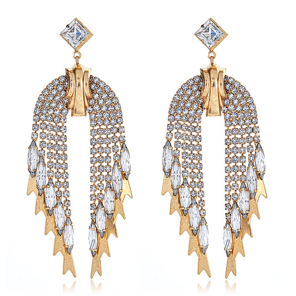 Pixie Golden Crystal Earrings by ELIZABETH COLE