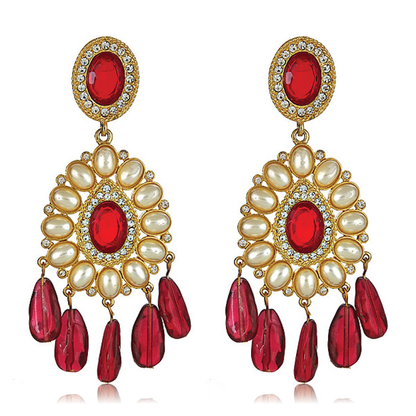 Ruby Globetrotter Earrings by KENNETH JAY LANE