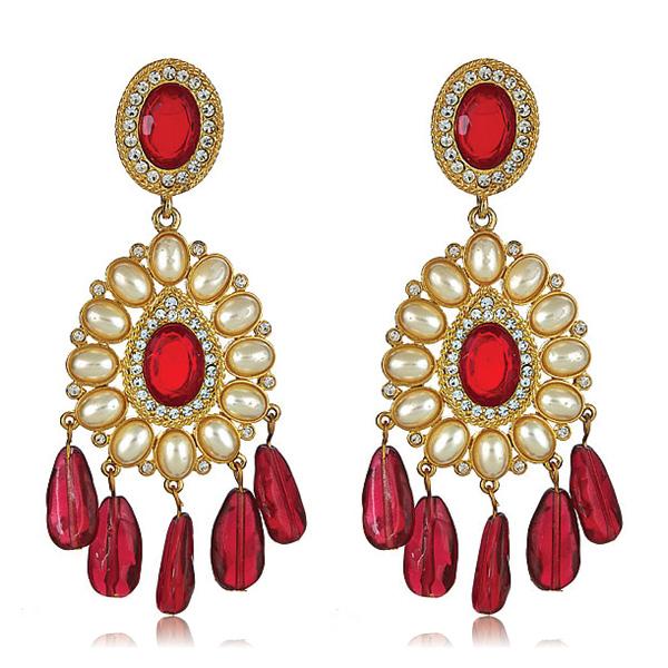Ruby Globetrotter Earrings by Kenneth Jay Lane