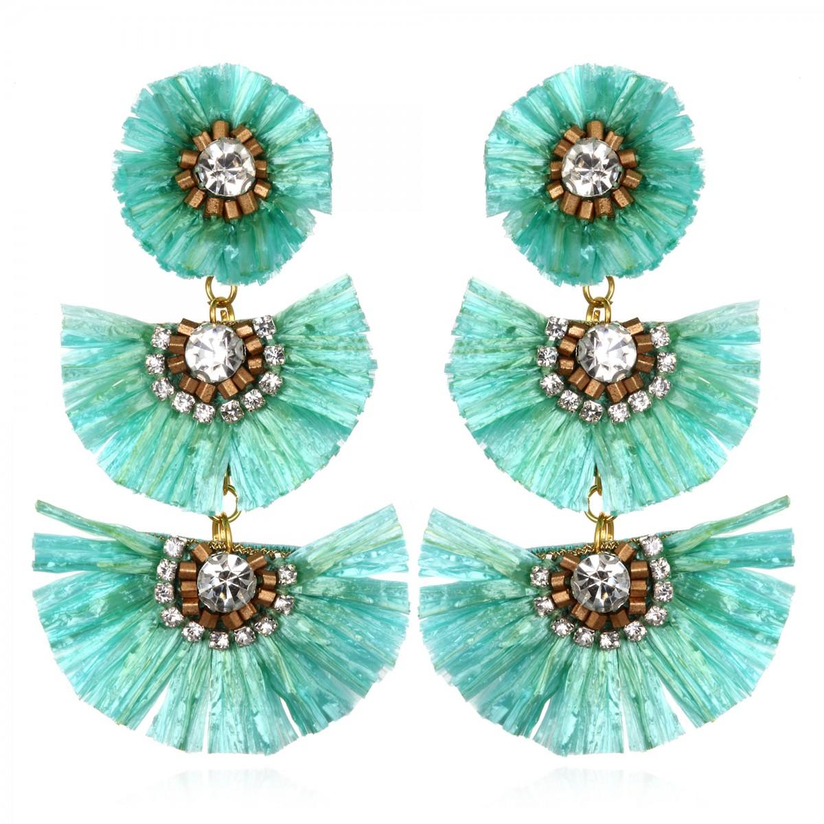 Tuquoise Rafia Fan  Earrings by SUZANNA DAI