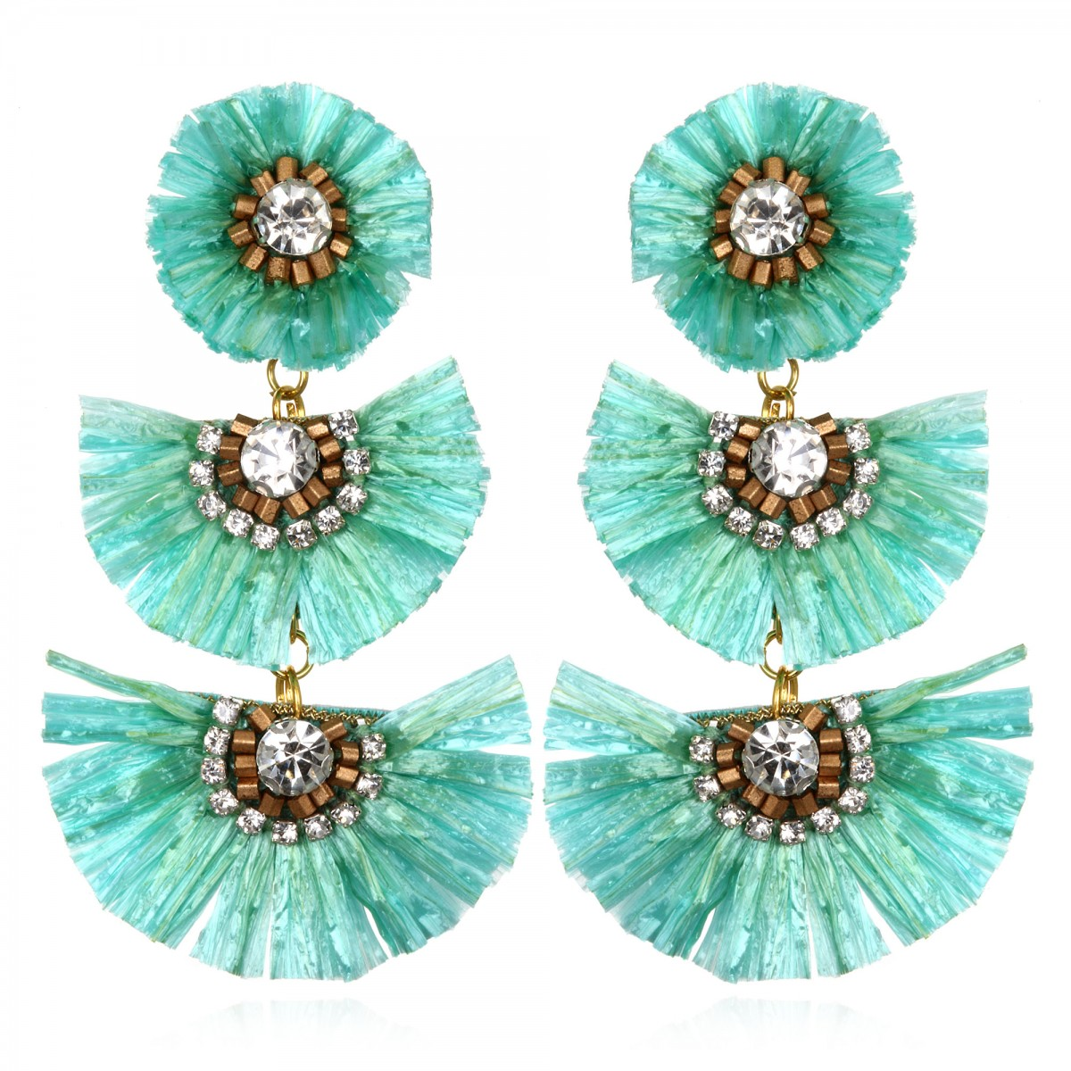 Tuquoise Rafia Fan  Earrings by SUZANNA DAI