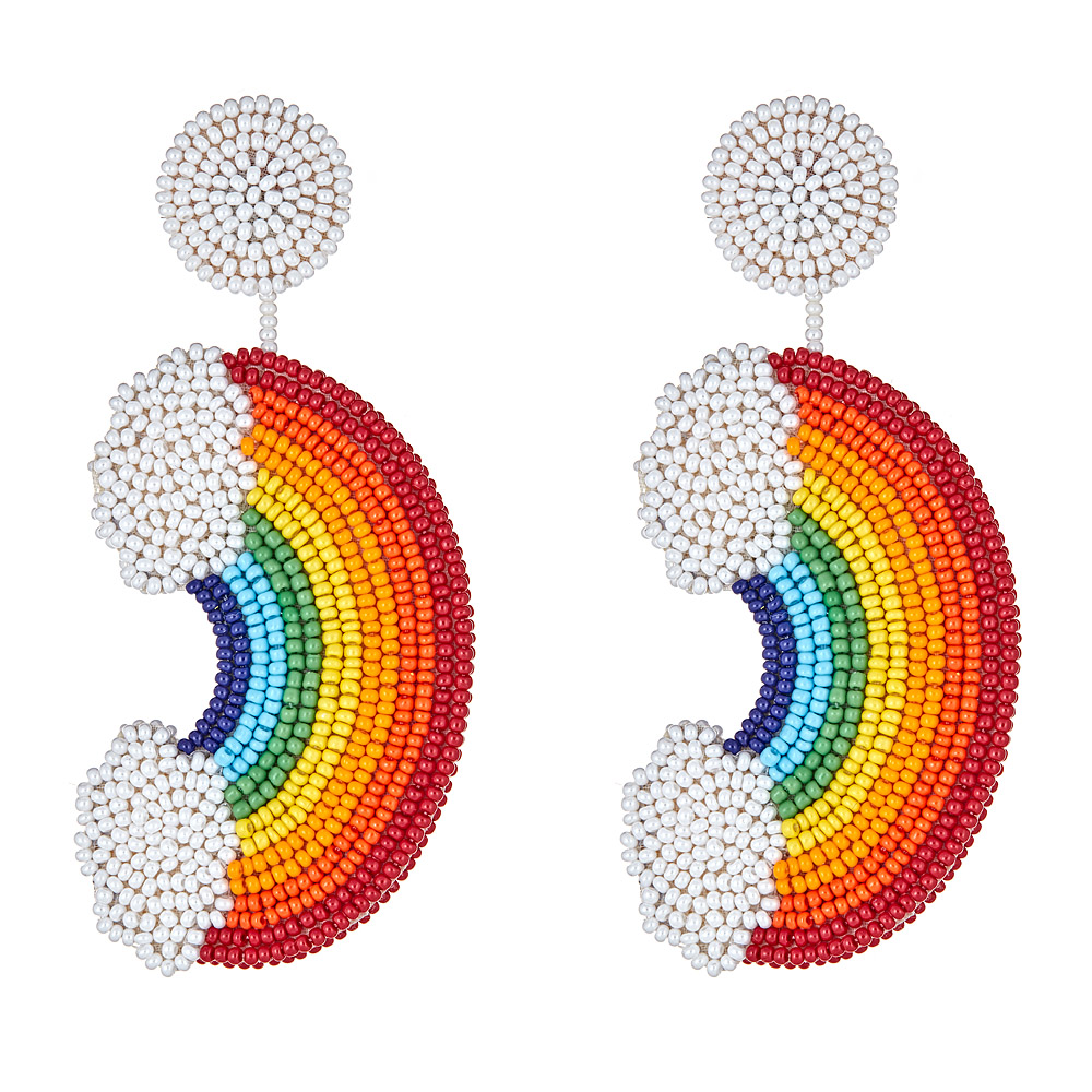 Rainbow Beaded Earrings by FRENCH AND FORD