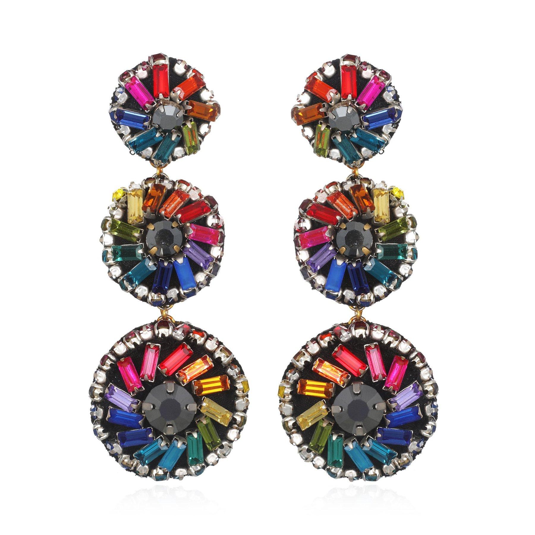 Rainbow Pinwheel Earrings by SUZANNA DAI