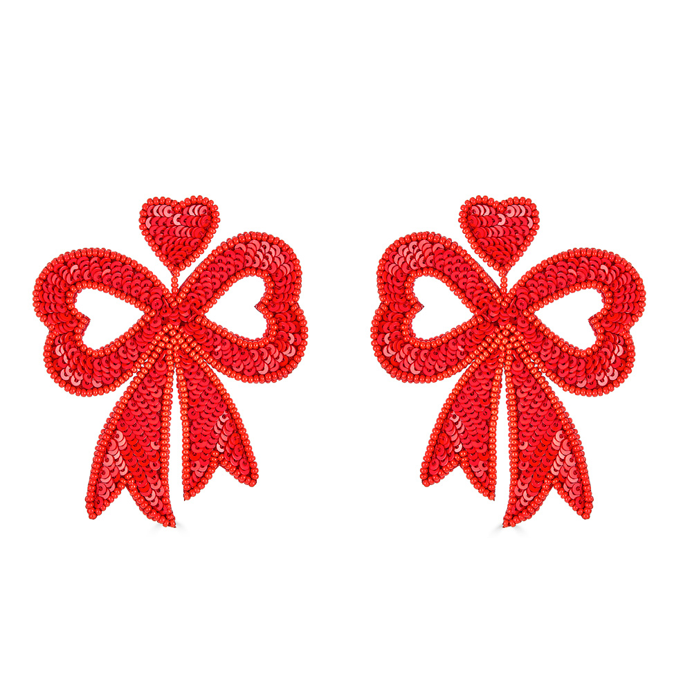 Red Sequin Heart Bow Earrings by FRENCH AND FORD