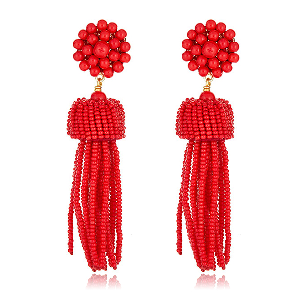 Red Tassel Earrings by LISI LERCH