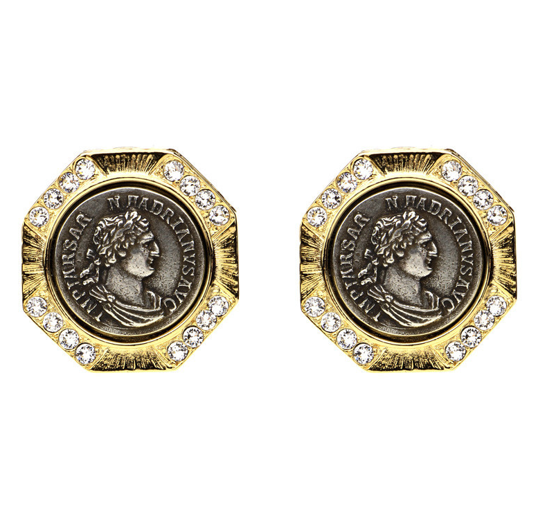 Roman Coin Button Earrings by BEN-AMUN