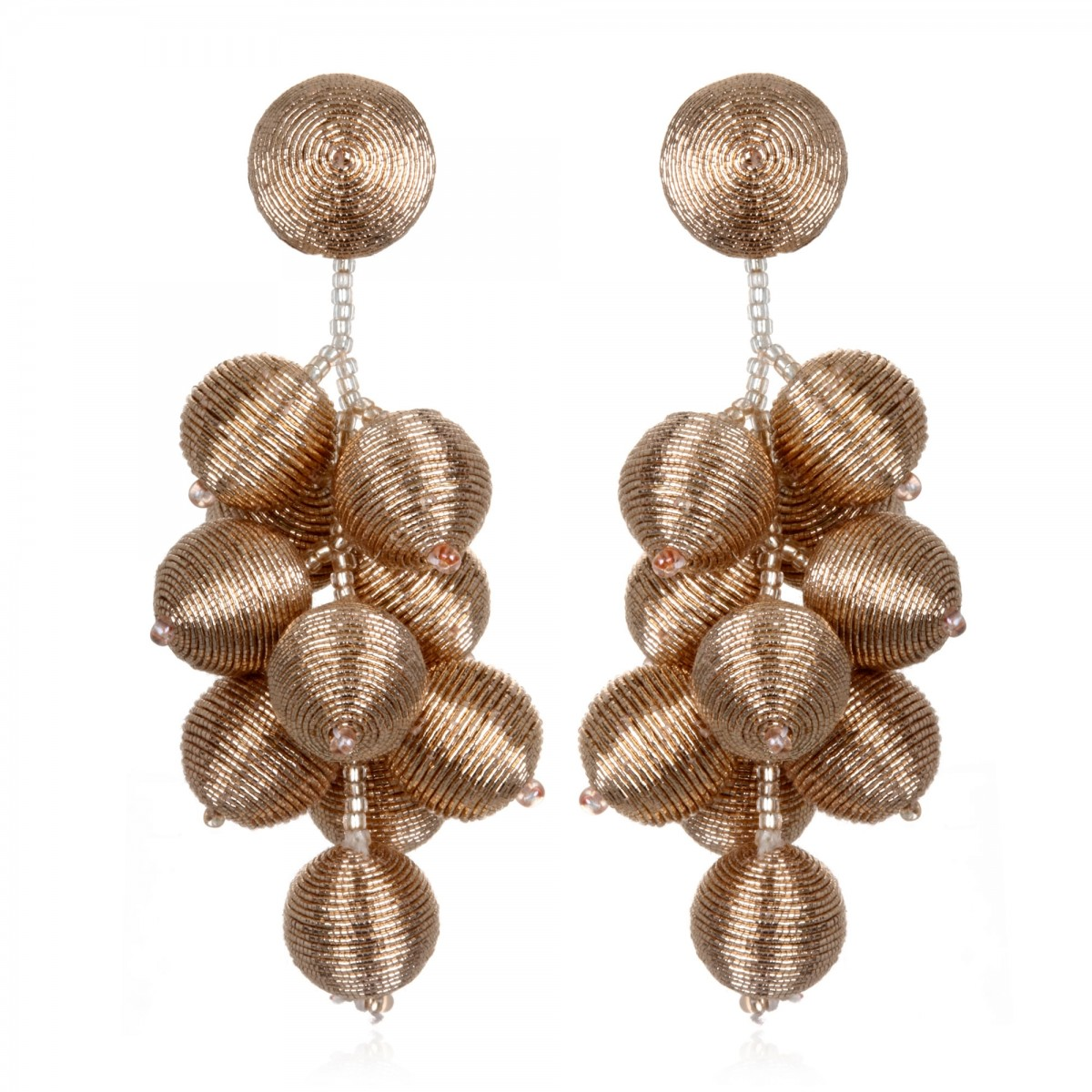 Rose Gold Cluster Earrings by SUZANNA DAI