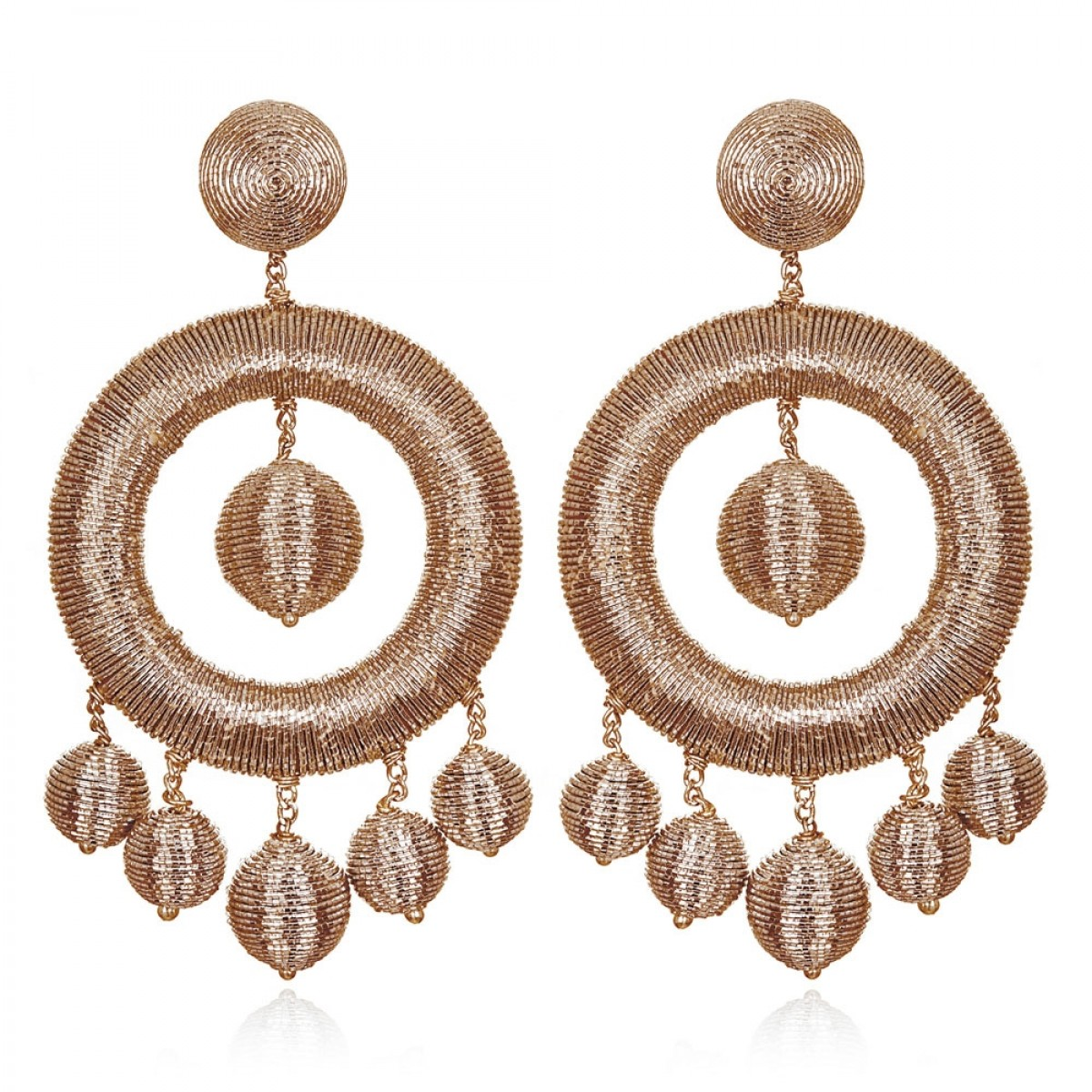 Rose Gold Metallic Hoops by SUZANNA DAI