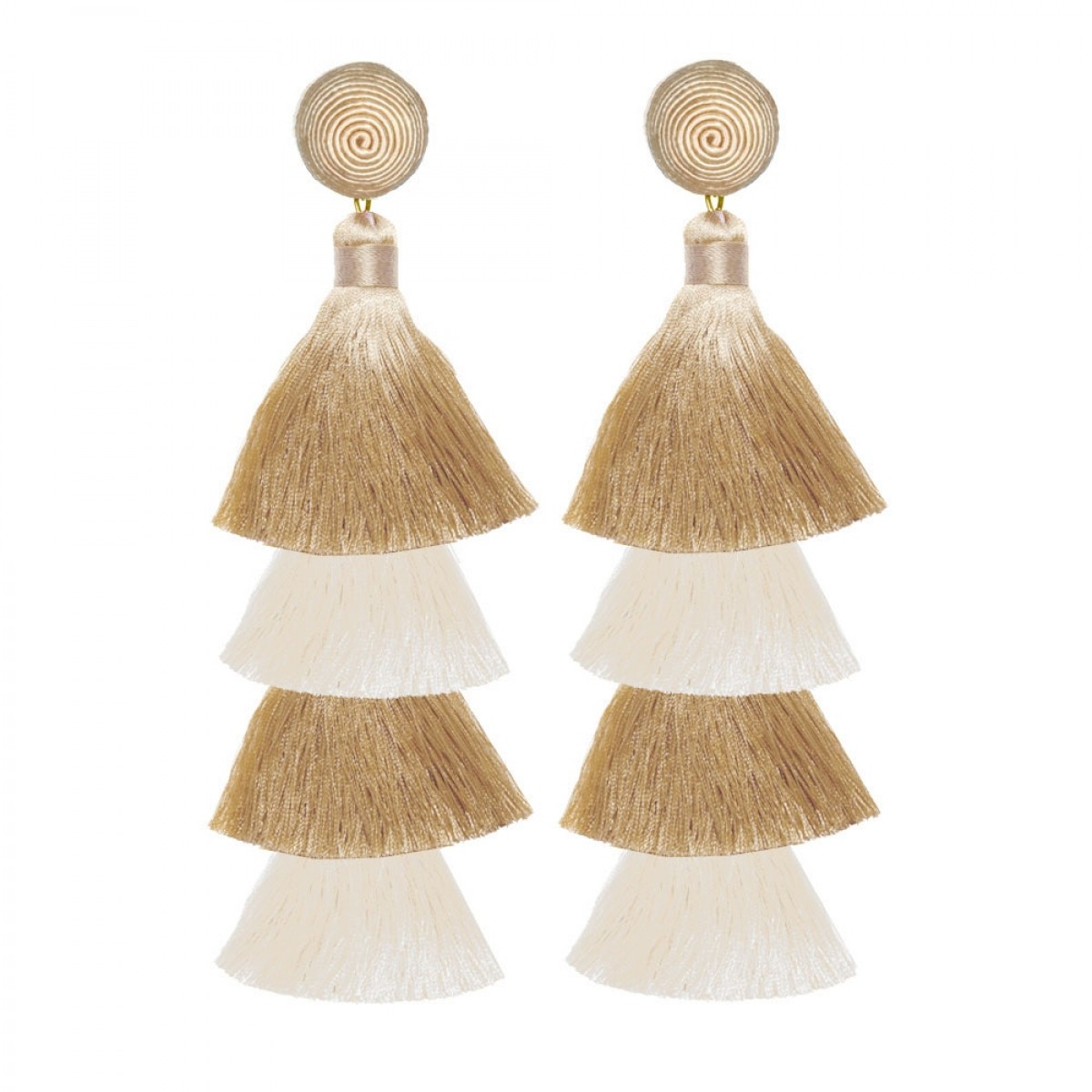 Ivory Sand Fringe Earrings by SUZANNA DAI