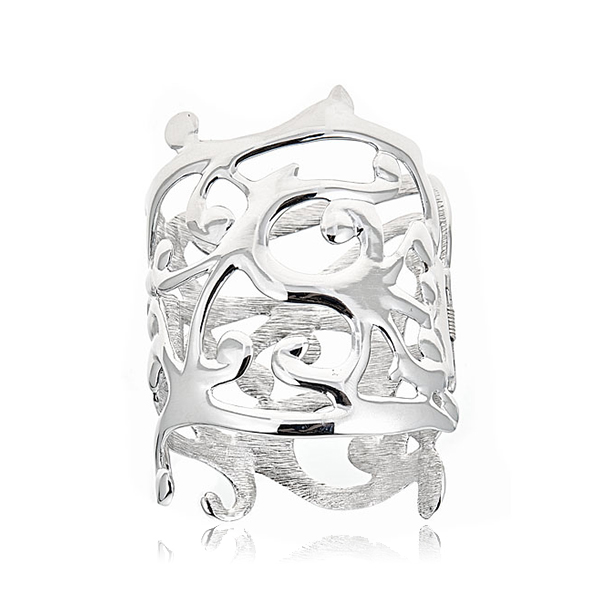Silver Sculpted Cuff by KENNETH JAY LANE
