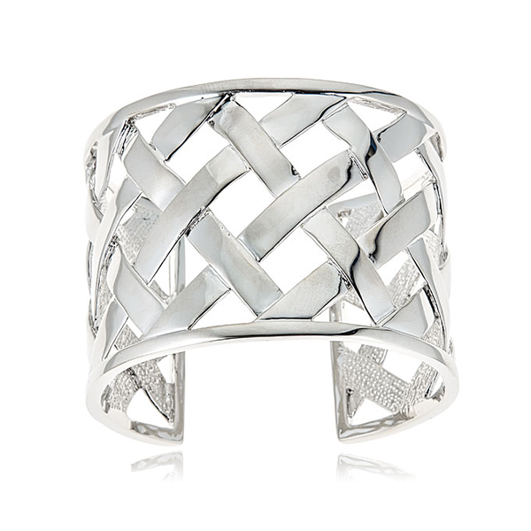 Silver Basket Weave Cuff  by KENNETH JAY LANE