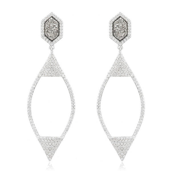 Silver Druzy Pave Earrings by MARCIA MORAN
