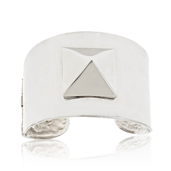 Silver Pyramid Spike Cuff by KENNETH JAY LANE