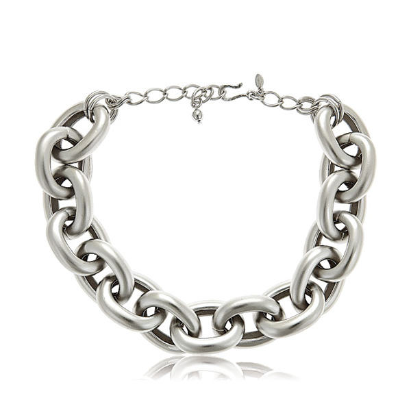 Silver Satin Link Necklace by KENNETH JAY LANE