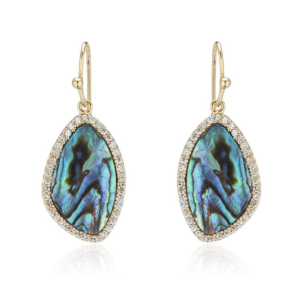 CZ Abalone Drop Earrings by Marcia Moran
