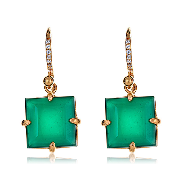 Square Drop Green Onyx Earrings by BOUNKIT