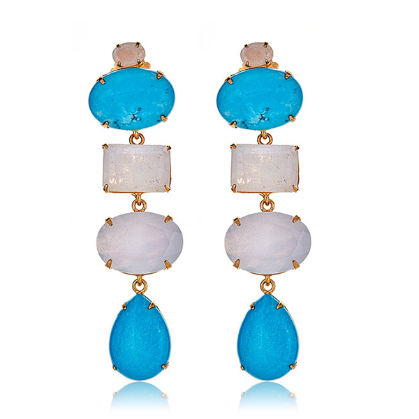 Turquoise Chalcedony Earrings by BOUNKIT