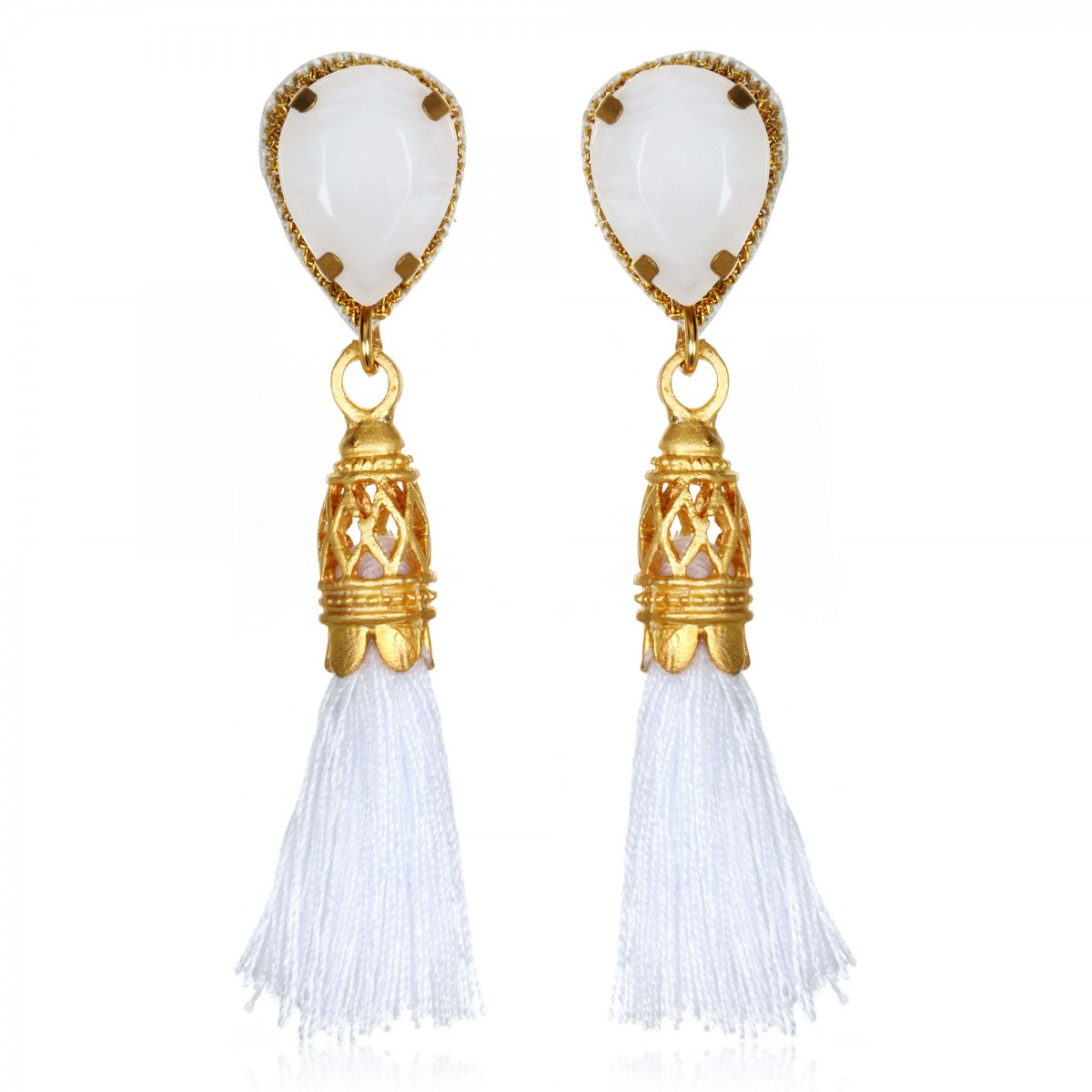 White Tassel Fringe Earrings by SUZANNA DAI