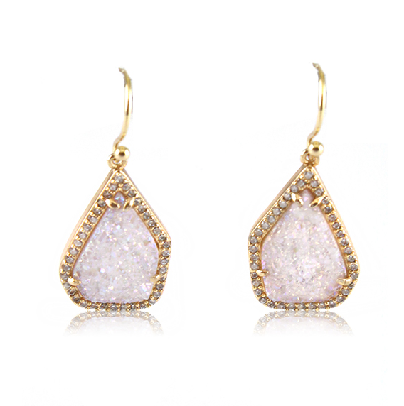 Summer White Druzy Earrings by MARCIA MORAN