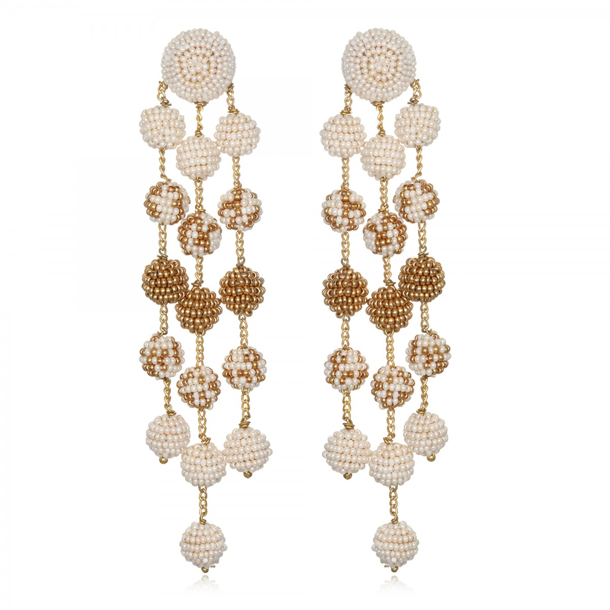 Ivory Ombre Beaded Earrings by SUZANNA DAI