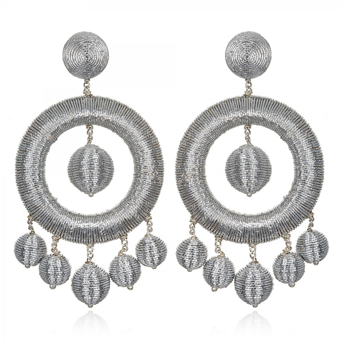 Silver Metallic Hoop Earrings by SUZANNA DAI