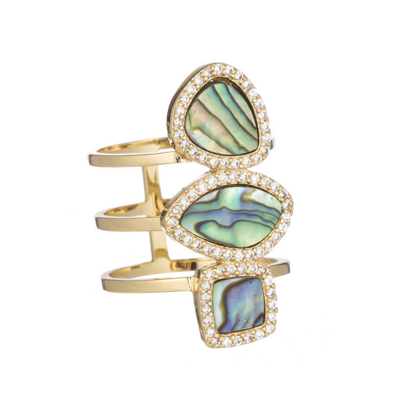 Abalone Three Stone Ring by MARCIA MORAN