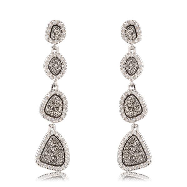 Titanium Druzy Dangle Earrings by MARCIA MORAN