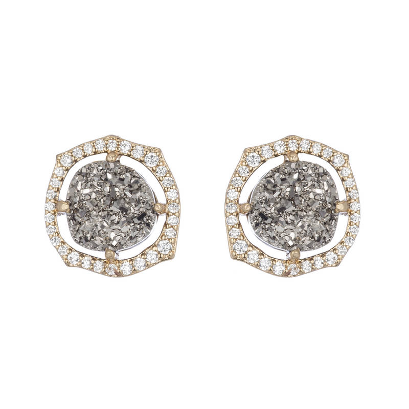 Titanium Druzy Stud Earrings by MARCIA MORAN