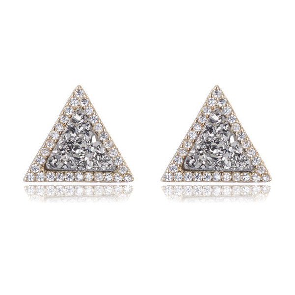 Triangle Drusy Earrings by Marcia Moran