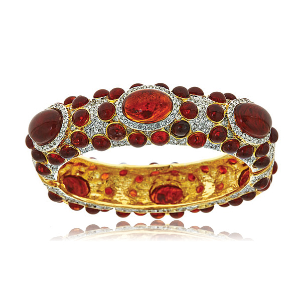 Tortoise Cabochon Bangle by KENNETH JAY LANE