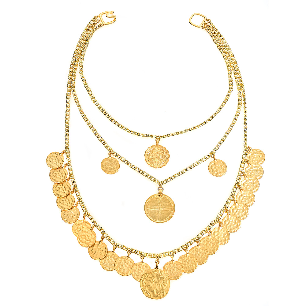 Triple Tiered Coin Necklace by KENNETH JAY LANE
