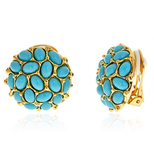 Turquoise Button Earrings by KENNETH JAY LANE