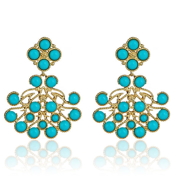 Turquoise Chandelier Earrings by KENNETH JAY LANE