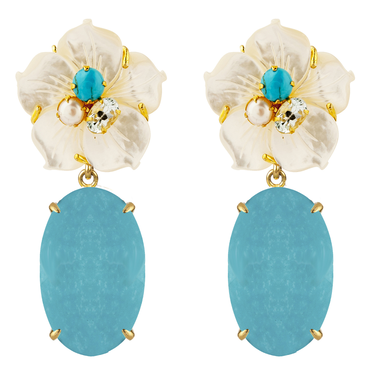 Turquoise Pearl Petal Earrings by BOUNKIT