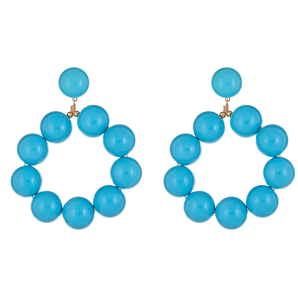 Turquoise Ball Hoop Earrings by KENNETH JAY LANE