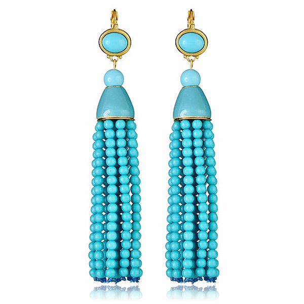 Turquoise Bead Tassel Earrings by Kenneth Jay Lane