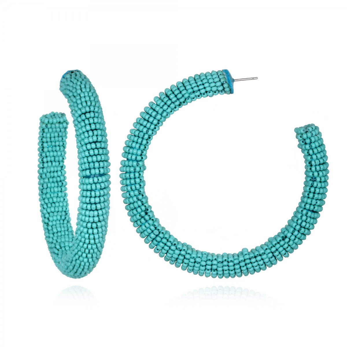 Turquoise Beaded Hoop Earrings by SUZANNA DAI