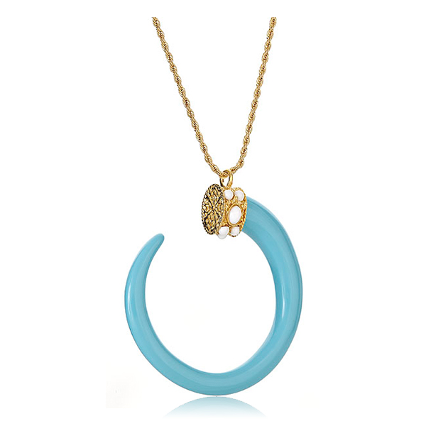 Turquoise Boho Tusk Necklace by KENNETH JAY LANE