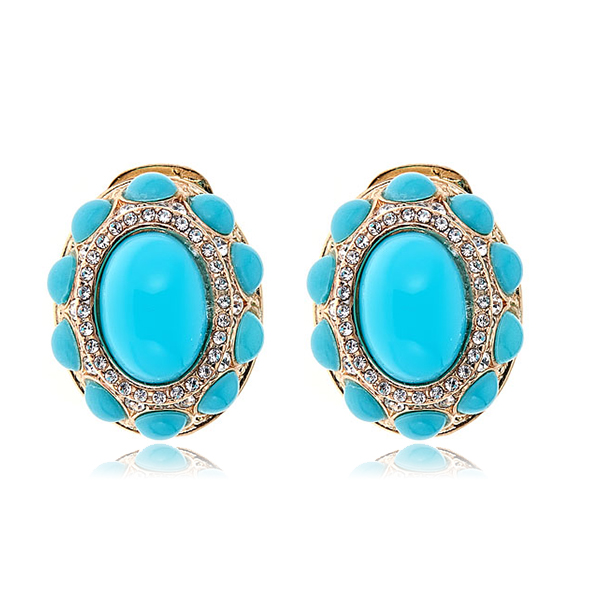 Turquoise Cab Pave Earrings by KENNETH JAY LANE