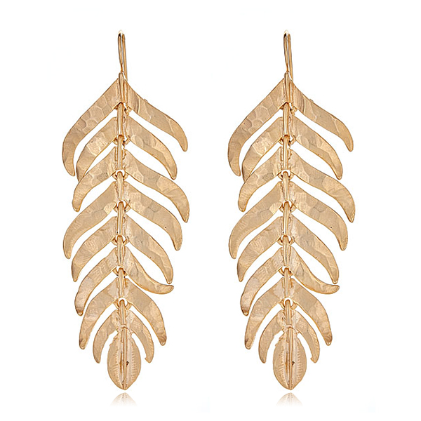Gold Feather Earrings by KENNETH JAY LANE