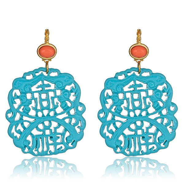 Turquoise Carved Earrings by KENNETH JAY LANE