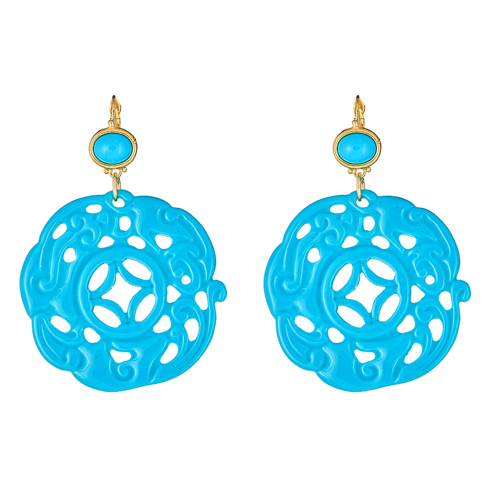 Turquoise Circle Earrings by KENNETH JAY LANE