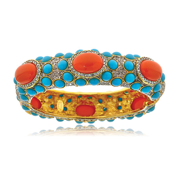 Turquoise Coral Cabochon Bangle by KENNETH JAY LANE