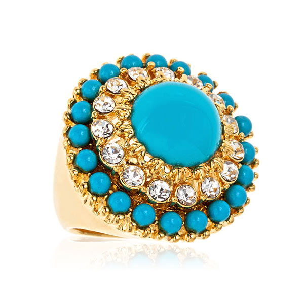 Turquoise Crystal Tier Ring by KENENTH JAY LANE