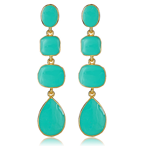 Turquoise Enamel Earrings by KENNETH JAY LANE