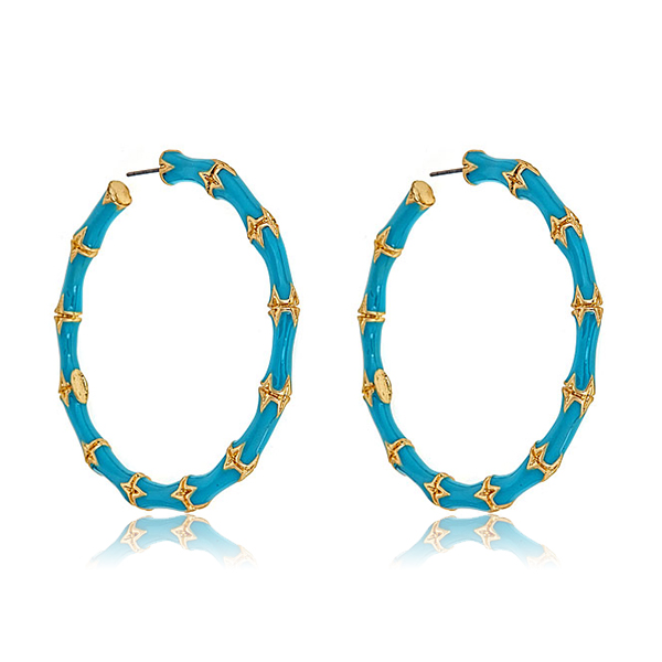 Turquoise Bamboo Hoop Earrings by Kenneth Jay Lane