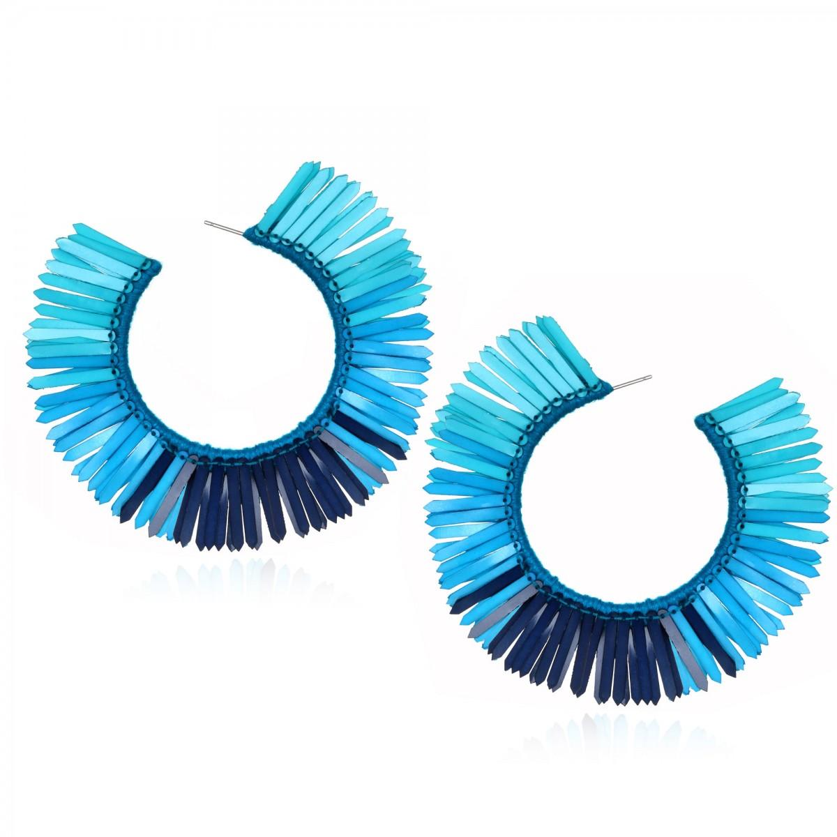 Turquoise Karaja Hoop Earrings by SUZANNA DAI