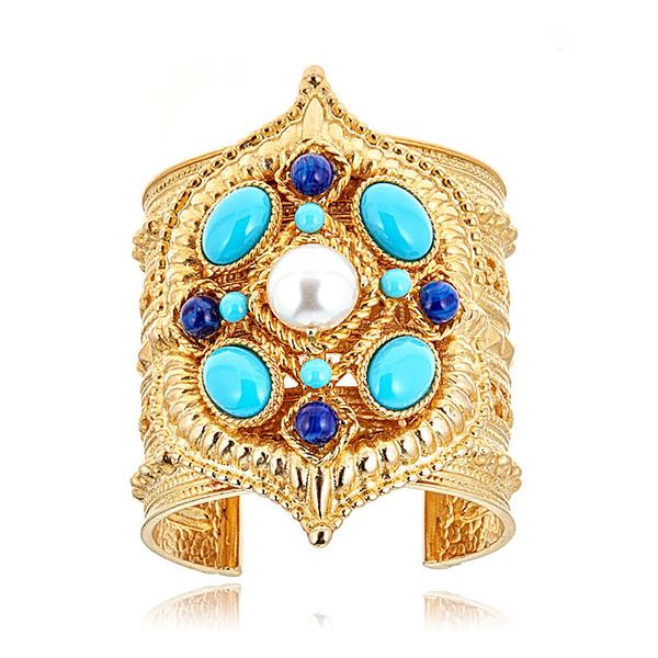 Turquoise Lapis Cuff Bracelet by BEN-AMUN