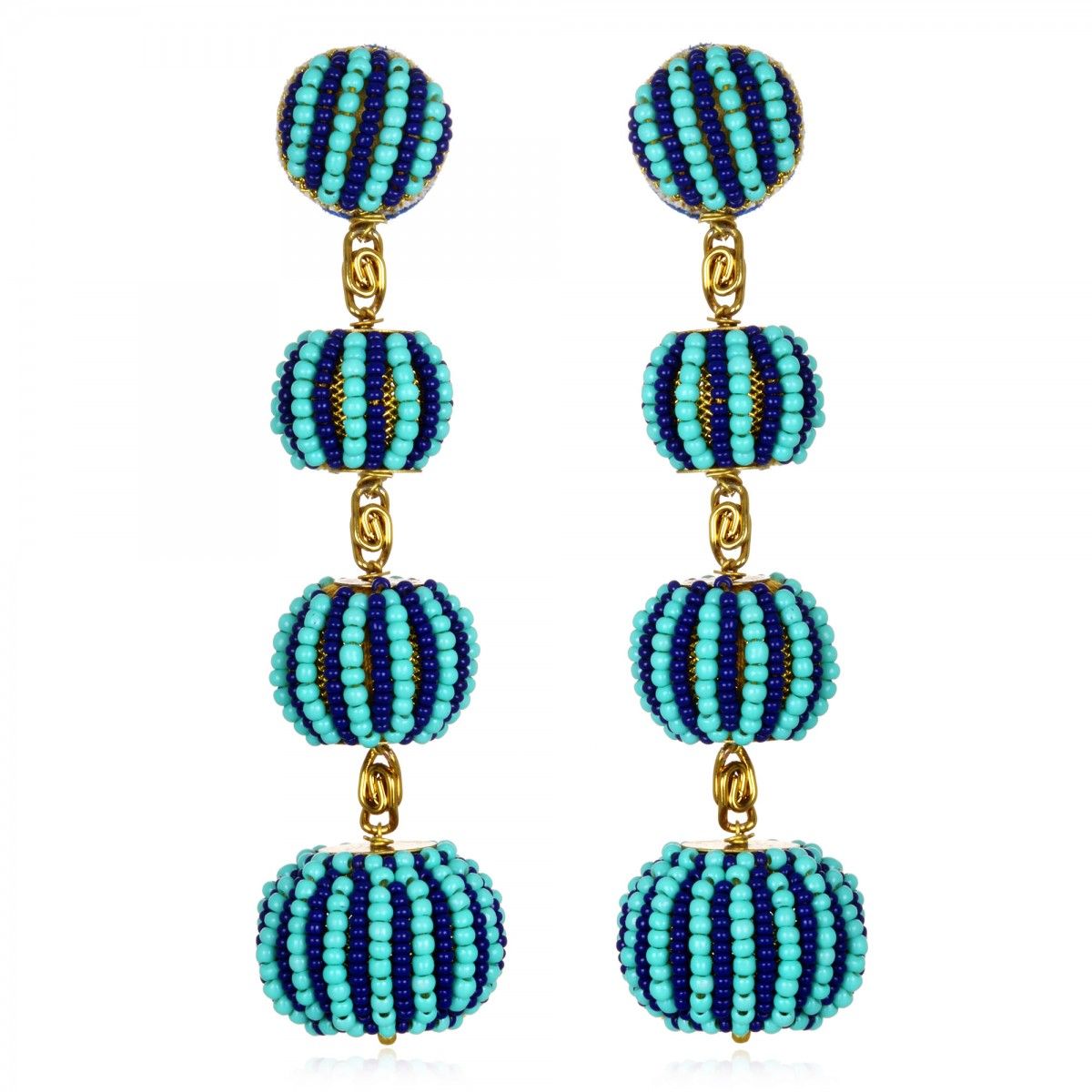 Navy Turquoise Beaded Earrings by SUZANNA DAI