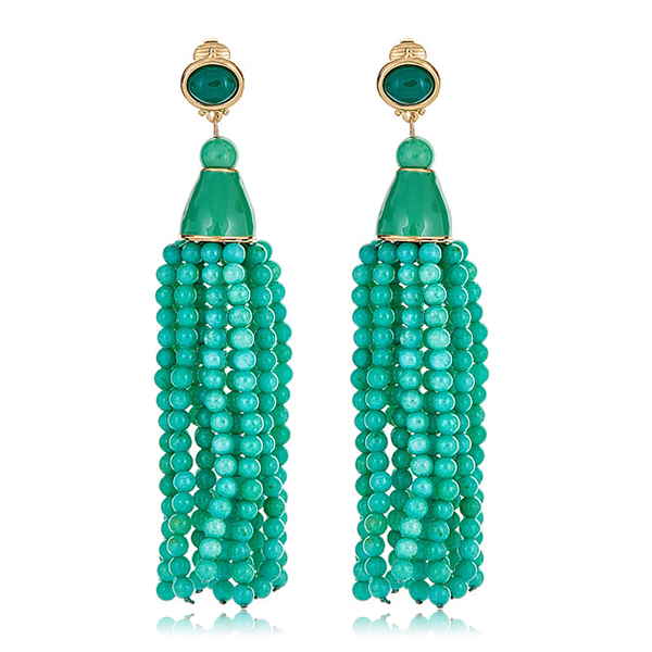 Jade Beaded Tassel Earrings by KENNETH JAY LANE